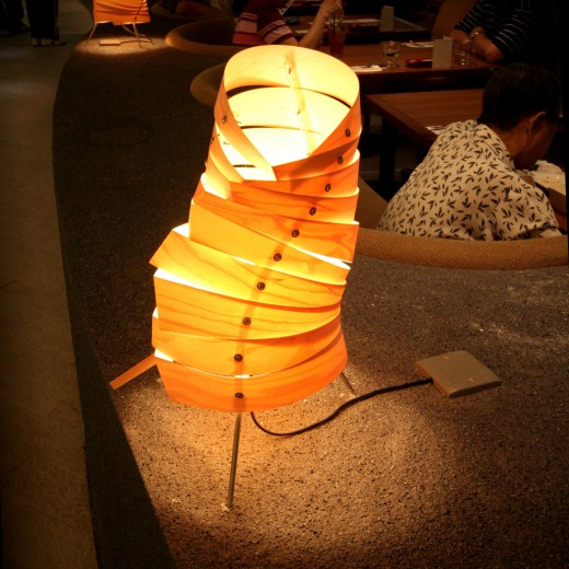 Table lamp at Booth Seating