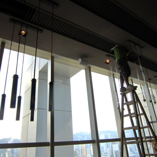 Stage 5 - installation for pendant at High Table Dining Area