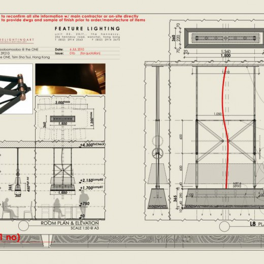 Stage 1 - Design drawing for pendant at VIP Room