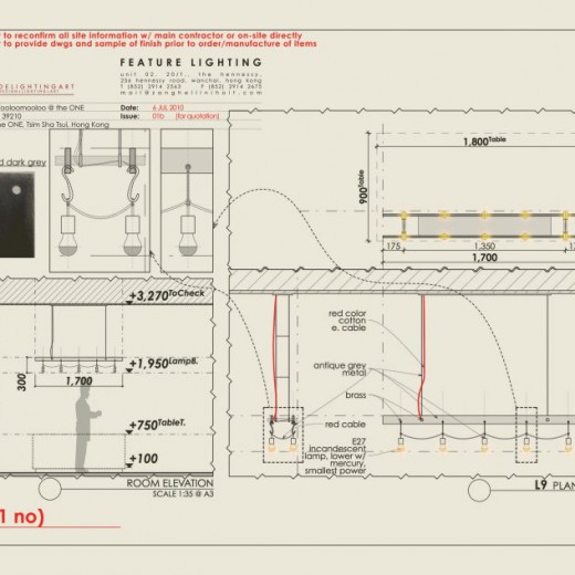 Stage 1 - Design drawing for pendant above Display Table