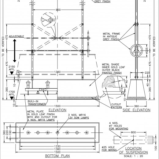 Stage 3 - Shop drawing for pendant at VIP Room