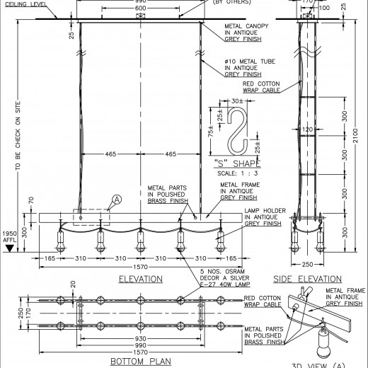 Stage 3 - Shop drawing for pendant above Display Table