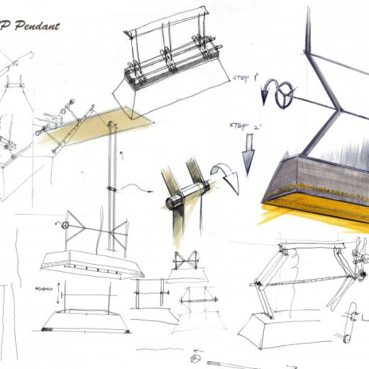 Stage 1 - Conceptual sketch for pendant at VIP Room