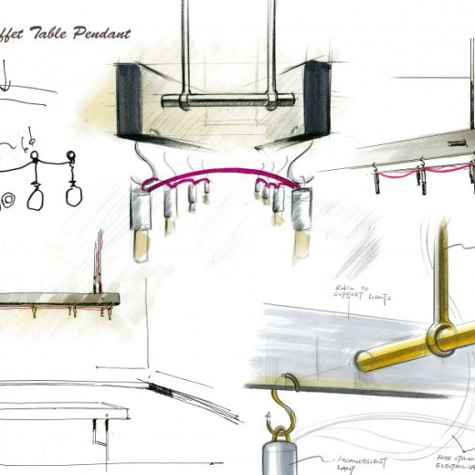 Stage 1 - Conceptual sketch for pendant above Display Table